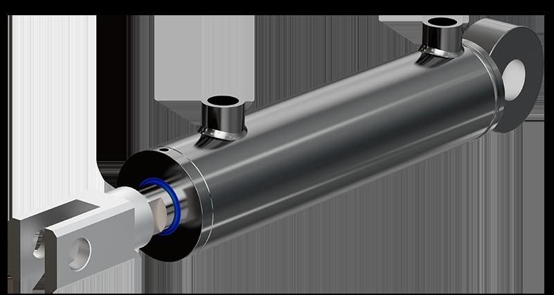 Dubbelverkande hydraulcylinder från Melin & Carlsson med gaffel